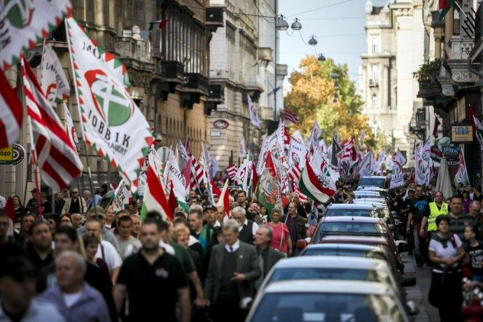 Demonštrácia Jobbiku v Budapešti v roku 2013. Foto - TASR