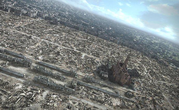 Poľskí historici dva roky vytvárali 3D film, ktorý mal znázorniť zdevastovanú Varšavu z vtáčej perspektívy. FOTO - TASR