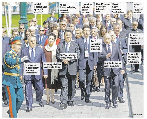 Kto bol všetko na prehliadke v Moskve, zväčša lídri autoritatívnych režimov. Foto - TASR/AP, popisky - Denník N