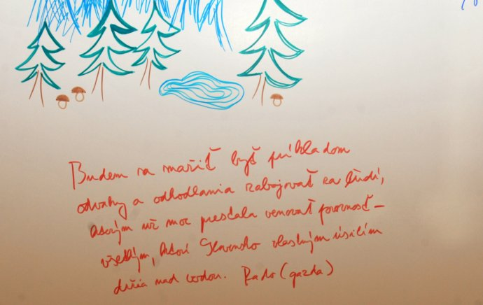 Prianie Radoslava Procházku, ktoré napísal na mapu Slovenska počas ustanovujúceho snemu strany Sieť v ŽŽiline. FOTO - TASR