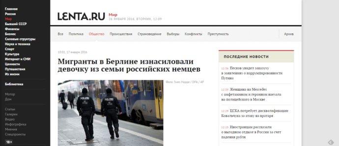 """""""Migranti v Berlíne znásilňovali dievčatko z rodiny ruských Nemcov,"""" píše ruský server Lenta v titulku."""