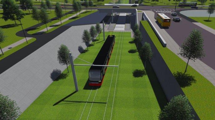 Väčšina trate má byť prikrytá trávou. Podľa magistrátu bude vďaka tomu estetickejšia a zároveň tichšia. Vizualizácia - Reming