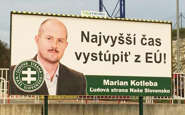 Bilbord ĽSNS pred parlamentnými voľbami 2016. Zdroj – Kotleba – ĽSNS