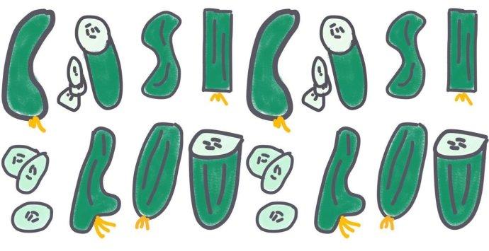 Rôzne druhy uhoriek. Ilustrácia Karolína Stach