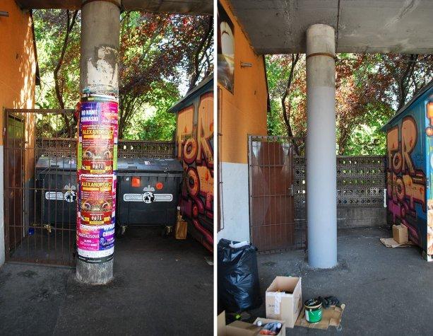 Pred a po z akcie Zelenej hliadky na zastávkach Patrónka. Stačilo 12 dobrovoľníkov, 6 hodín práce, 0,5l antiplagátového náteru a na stĺpoch už plagáty nenájdete aj po viac ako roku.