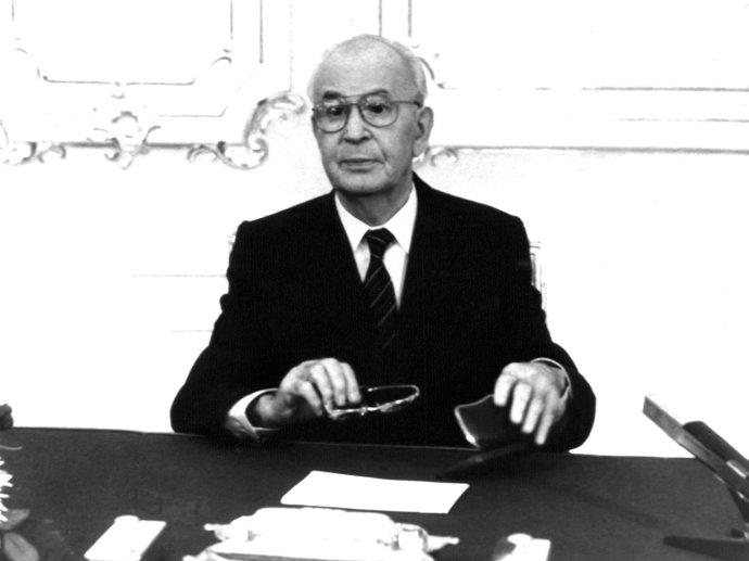 Posledný televízny prejav Gustáva Husáka z 9. decembra 1989. Foto – TASR