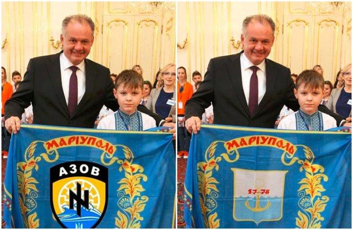 Nové obranné dokumenty za hrozbu označujú aj šírenie dezinformácií. Tento rok napríklad niektorí ľudia na Facebooku zdieľali falošnú fotku Andreja Kisku (vľavo), na ktorej mal propagovať ukrajinský prapor Azov, ktorý sa hlási k symbolike SS. V skutočnosti Kiska držal vlajku z erbom Mariupoľu. Foto – kancelária prezidenta