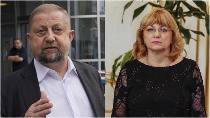 Štefan Harabin a predsedníčka Súdnej rady Jana Bajánková, ktorá so svojím disciplinárnym návrhom neuspela.
