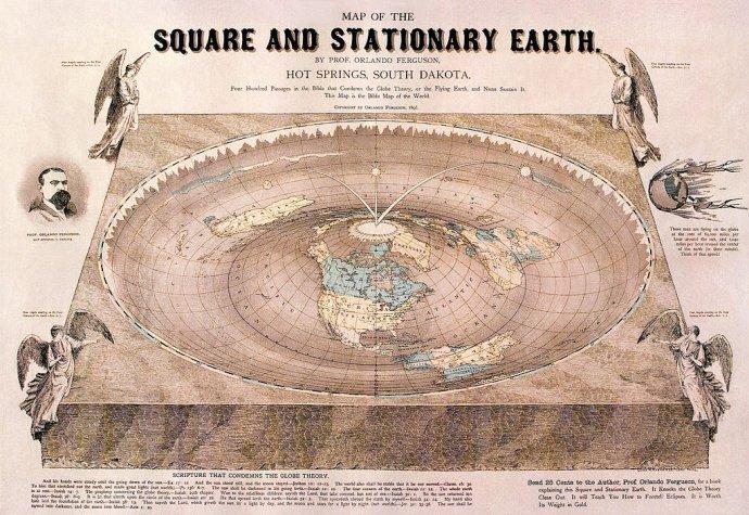 Mapa plochej Zeme od Orlanda Fergusona z roku 1893. Foto – Wikimedia/cc