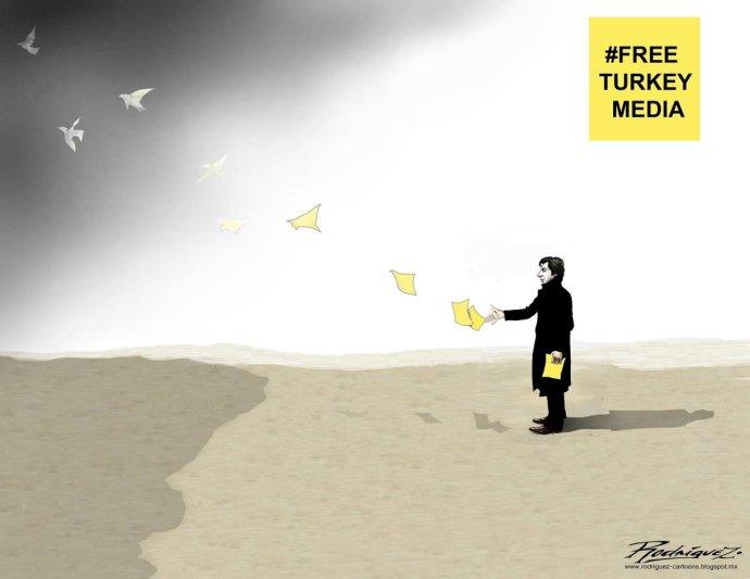 Karikaturisti z celého sveta sa pripojili k výzvam na prepustenie tureckých novinárov. Foto – Amnesty