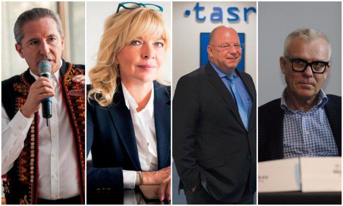 Štyria favoriti na šéfa RTVS: Václav Mika, Zuzana Ťapáková, Jaroslav Rezník a Michal Ruttkay. Foto – TASR a N