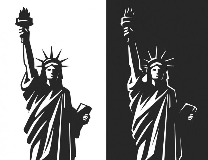 Statue of Liberty silhouette vector on black and white