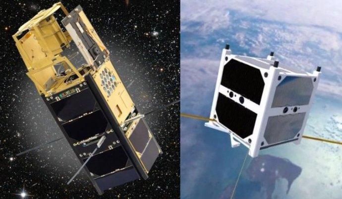 Dve družice na obežnej dráhe, z ktorých naplno funguje len jedna. Naľavo český nanosatelit VZLUSat-1, napravo slovenský skCube.