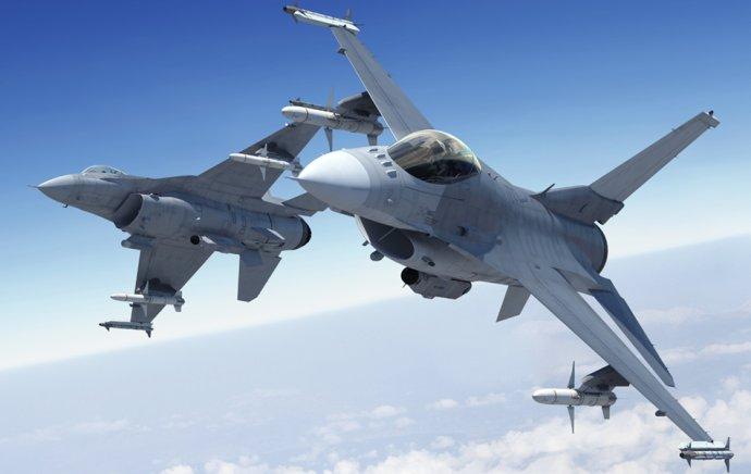 Lietadlá F-16 pochádzajú ešte zo 70. rokov a v súčasnosti sú zrejme najrozšírenejšími stíhačkami na svete. Vyrába ich firma Lockheed Martin, ktorá ich priebežne inovuje. Vizualizácia – Lockheed