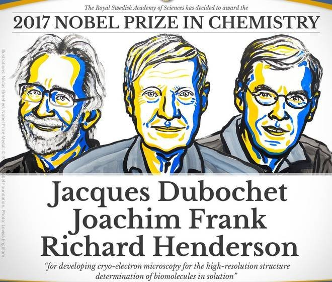 Jacques Dubochet, Joachim Frank a Richard Henderson dostali Nobelovu cenu za chémiu za vývoj kryoelektrónovej mikroskopie, ktorá umožňuje pozorovanie biomolekúl. Foto – Nobelprize.org