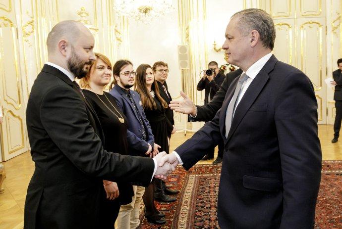 Riaditeľ Iniciatívy Inakosť Martin Macko počas prijatia prezidentom Andrejom Kiskom. Foto – TASR
