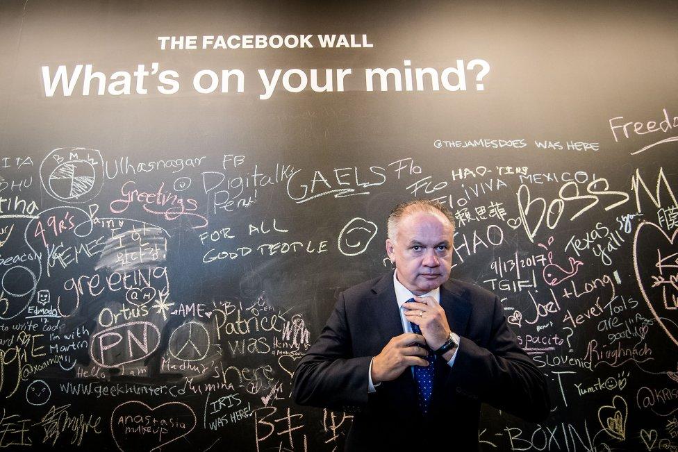 Andrej Kiska v americkej centrále Facebooku. Foto N – Vladimír Šimíček