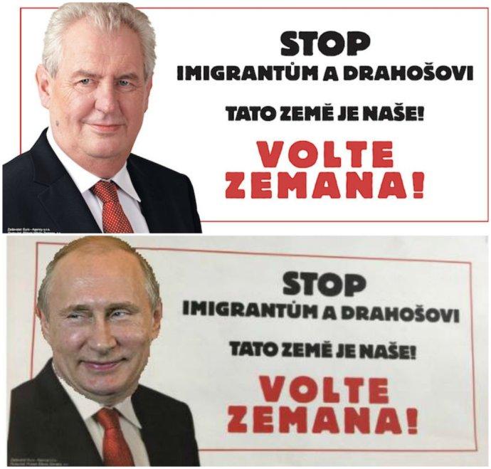 Inzerát, ktorý si zaplatili Zemanovi podporovatelia, a jeho paródia, ktorá sa objavila na sociálnych sieťach. Reprofoto – Deník/Facebook Jiřího Drahoša