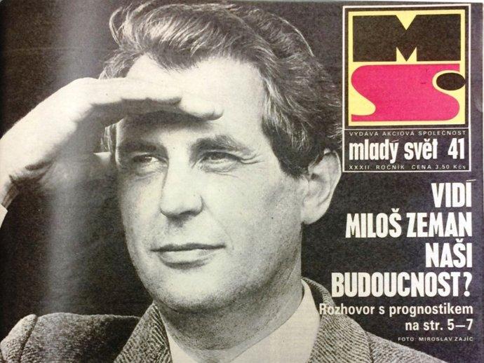 Rešpektovaný prognostik Miloš Zeman na titulke časopisu Mladý svět v roku 1990. Reprofoto - Dominika Pihová, irozhlas.cz