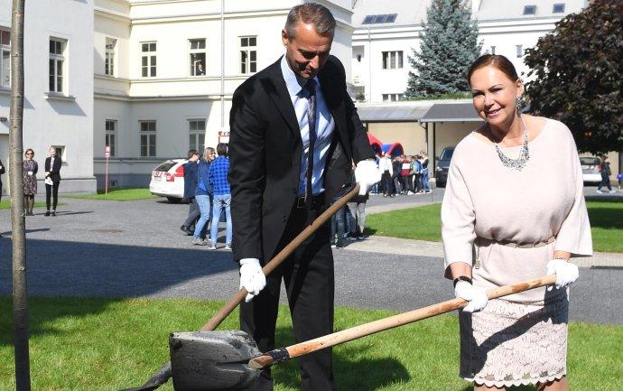 V septembri 2017 sadila predsedníčka Ústavného súdu Ivetta Macejková s primátorom Rašim lipu na nádvorí súdu. Foto – TASR