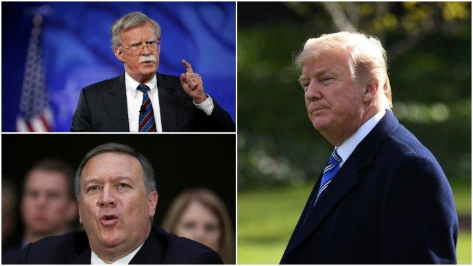 Traja muži, ktorí budú formovať zahraničnú politiku USA: John Bolton, Mike Pompeo a Donald Trump. Foto – TASR/AP