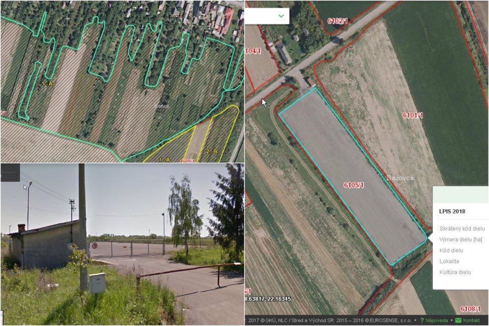 Pozemky, na ktoré brala bývalá poslankyňa Smeru dotácie. Pri jednom z nich aj Google Street View ukazuje, že ide o asfaltovú plochu.