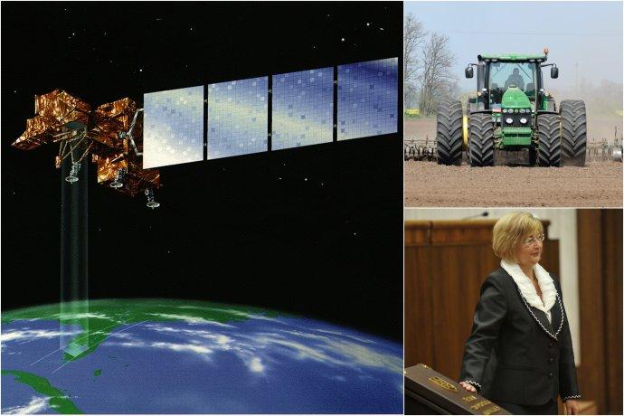 Satelit, aký robí aj diaľkový prieskum Zeme (tento patrí NASA) a Ľubica Rošková. foto - Wikipédia a tasr