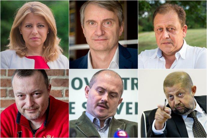 Ohlásení kandidáti: Zuzana Čaputová, Robert Mistrík, Oskar Fegyveres, Milan Krajniak, Marian Kotleba a Štefan Harabin. Foto – N a TASR