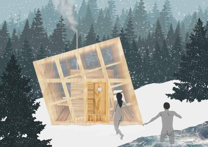 Takto by mala vyzerať sauna v Spišskom Hrhove. Vizualizácia – Woven