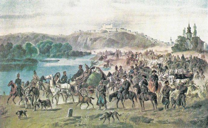 Joseph Heicke: Ruské vojsko pred Pressburgom v roku 1849. V dnešnej Bratislave, v Petržalke pri Pečenskom ramene. Olejomaľba