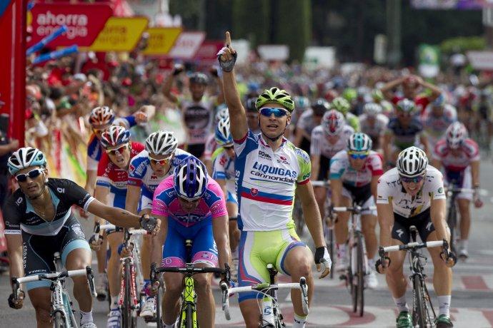 Vuelta a Espaňa 2011 bola prvou Saganovou Grand Tour. Vyhral vtedy tri etapy. (AP Photo/Arturo Rodriguez)