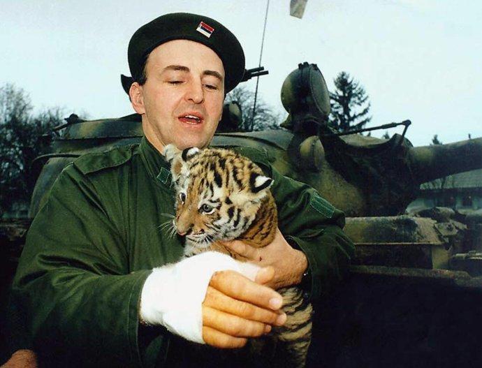 Na archívnej snímke z roku 1991 Željko Raznatović drží tigrie mláďa, symbol svojej jednotky, v chorvátskej dedine Erdut pred tankom, ktoré jeho jednotka ukoristila chorvátskej armáde. Počas bojov Arkan utrpel zranenie pravej ruky. Foto – archív TASR/AP
