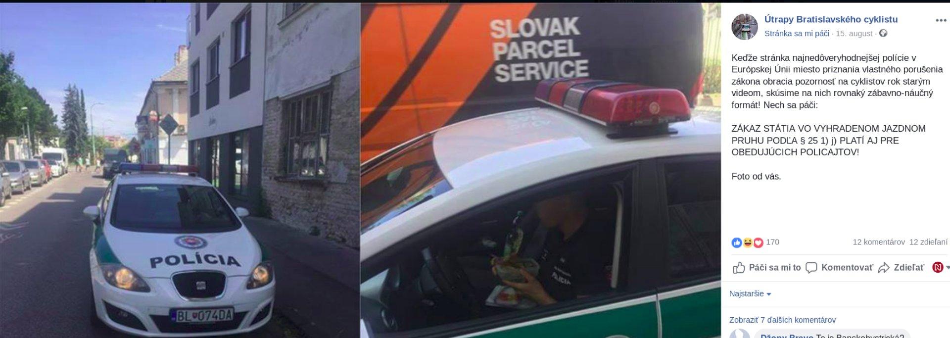 ec49550c8 Policajti obedujú na cyklotrase. Zdroj: Facebook Útrapy bratislavského  cyklistu