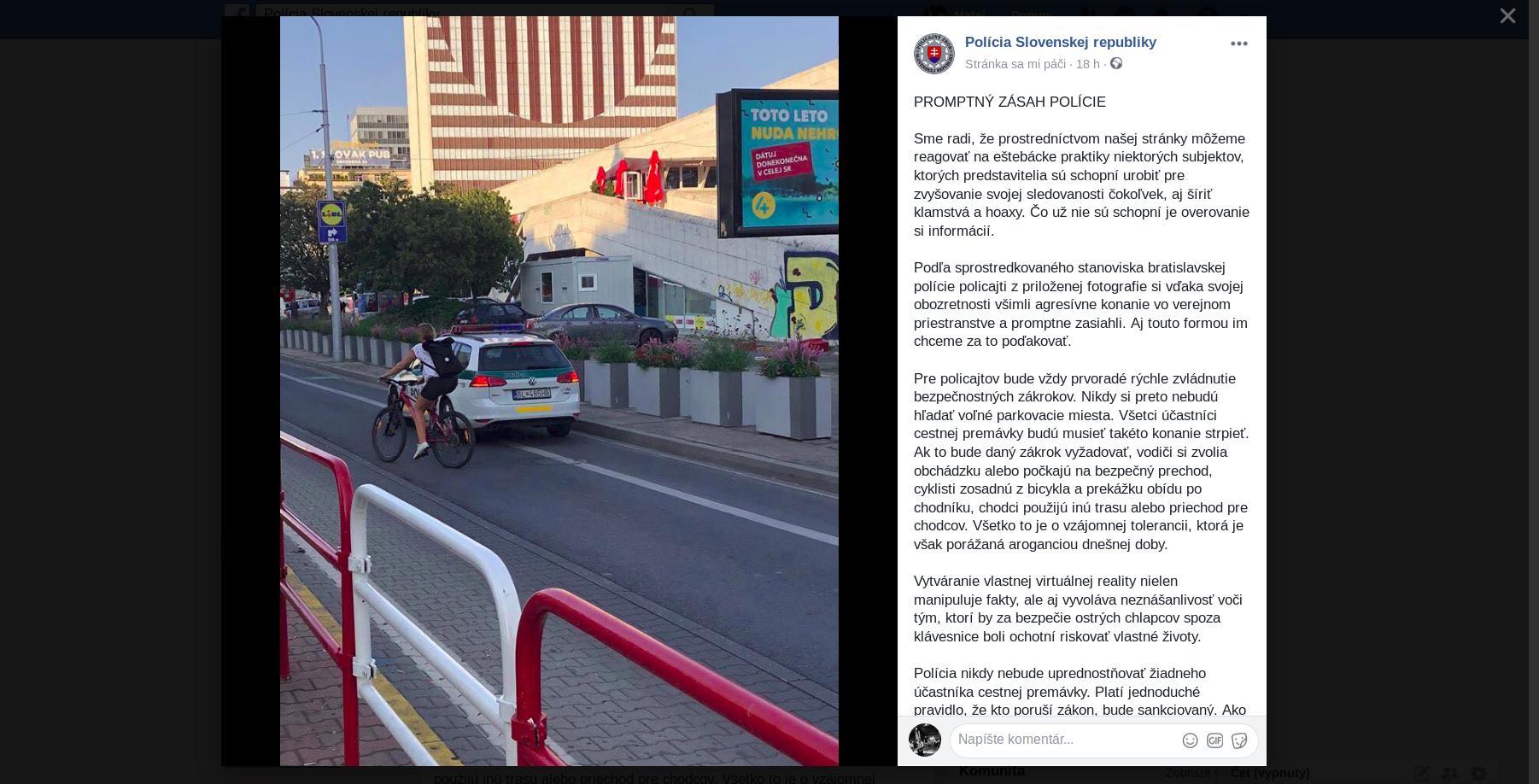 e2556f3cb Cyklisti sa sporia s policajtmi, fotia ich v cyklopruhoch, polícia na  Facebooku hovorí o eštebáckych praktikách – Denník N