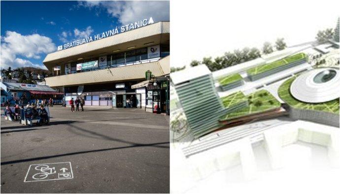 Bratislavská hlavná stanica a ako mala vyzerať podľa vizualizácií spred vyše ôsmich rokov. Foto N – Tomáš Benedikovič, vizualizácia – Transprojekt