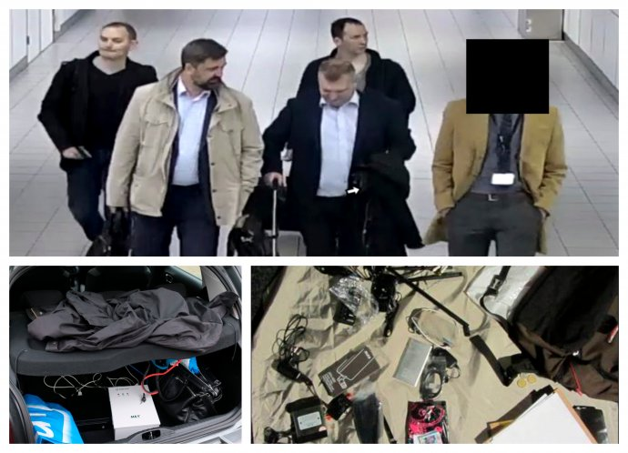 Štyria vyhostení ruskí agenti GRU a ich hakerské vybavenie. Foto - TASR/AP/Holandská polícia