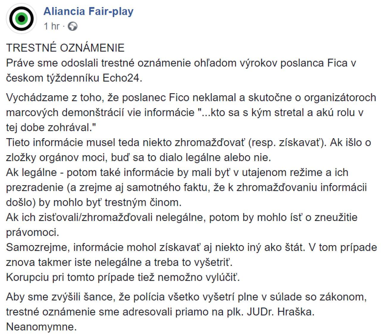 c5ef7a4e0 Aliancia Fair-play podala trestné oznámenie na Fica ohľadom jeho výrokov  týkajúcich sa organizátorov protestov a poslala ho priamo riaditeľovi NAKA  Petrovi ...