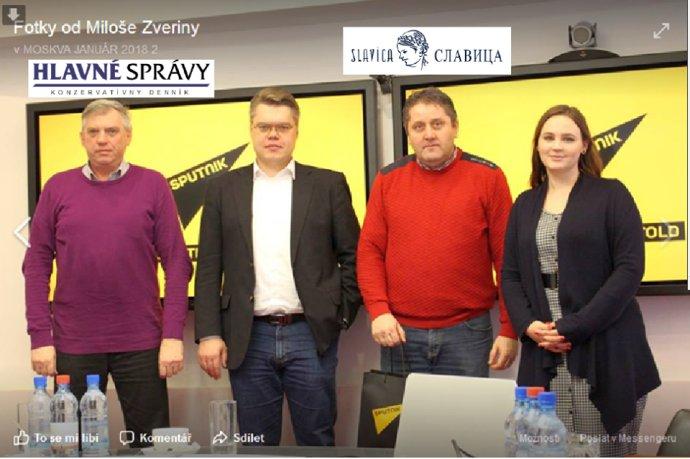 Jevgenij Paľcev (vľavo) na návšteve agentúry Sputnik, ktorú financuje ruská vláda. Druhým sprava je Miloš Zverina, ktorý Paľceva na cestách sprevádza. Foto - FB Milan Zverina/Dezinformácie, hoaxy, propaganda