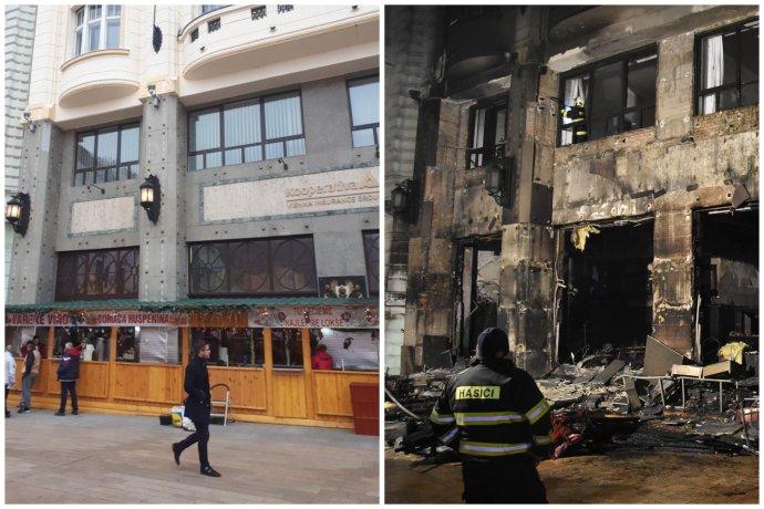 Pred a po – na prvej fotografii vidno stánok s lokšami pár dní pred vyhorením. Druhá fotografia ukazuje vyhorenú kaviareň Roland krátko po uhasení požiaru. Zdroj - archív Mateja Vagača a TASR
