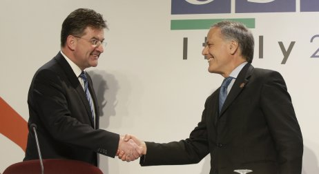 Taliansky minister zahraničných vecí Enzo Moavero Milanesi a Miroslav Lajčák. Foto – TASR/AP