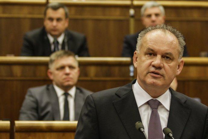 Prezident a predsedovia koaličných strán v júni 2017. Foto – TASR