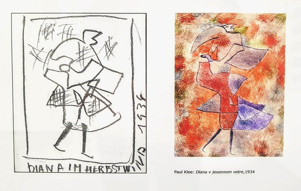 Ku kresbám Rudolfa Filu nachádzal Miloš Štofko originály malieb, ako v prípade obrazu Diana v jesennom vetre, ktorého autorom je Paul Klee. Foto - Ján Šuba