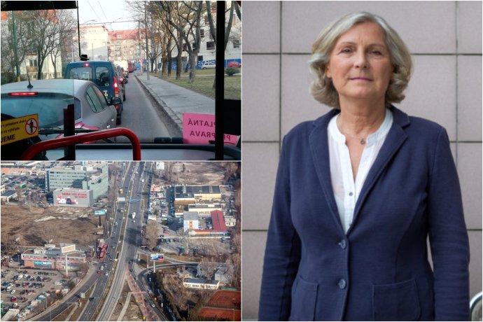 Na prvý deň najväčších dopravných obmedzení v Bratislave dohliadala aj viceprimátorka pre dopravu Tatiana Kratochvílová. Fotokoláž N - Tomáš Benedikovič