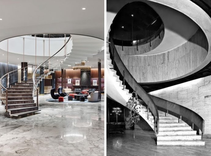 Súčasná podoba schodiska v Royal Hotel Copenhagen a pôvodná podoba schodiska v hoteli Kyjev.