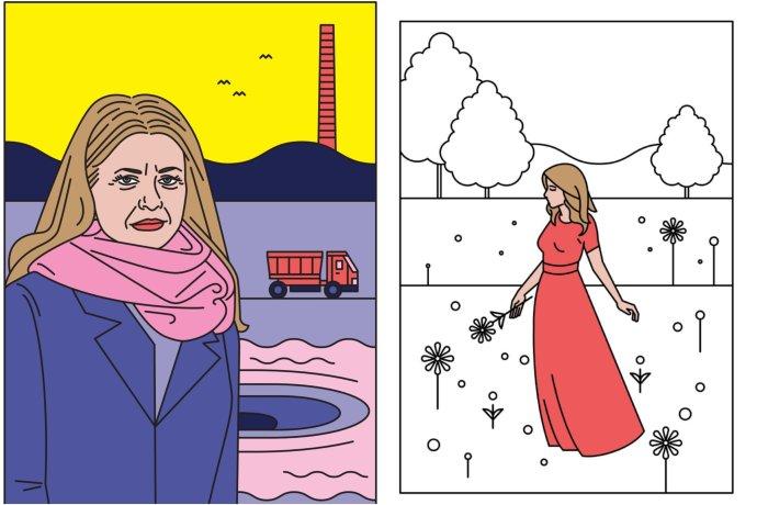 Ilustrácia k príbehu o Zuzane Čaputovej a maľovanka, ktorú k príbehu priložili. Autorka – Misha Chmelíčková