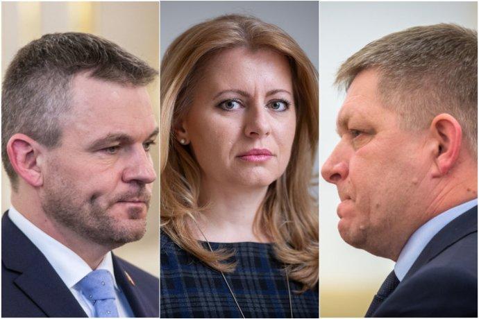 Premiér Peter Pellegrini, prezidentka Zuzana Čaputová a predseda Smeru Robert Fico. Foto – N