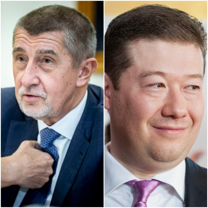 Premiér Andrej Babiš (ANO) a Tomio Okamura (SPD). Foto – Deník N/Gabriel Kuchta a TASR/AP