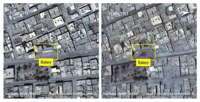 Koaličné útoky mali zničiť aj miestnu pekáreň. Fotky z 2. júna 2017 a vpravo z 19. júla 2017. Foto - TASR/AP