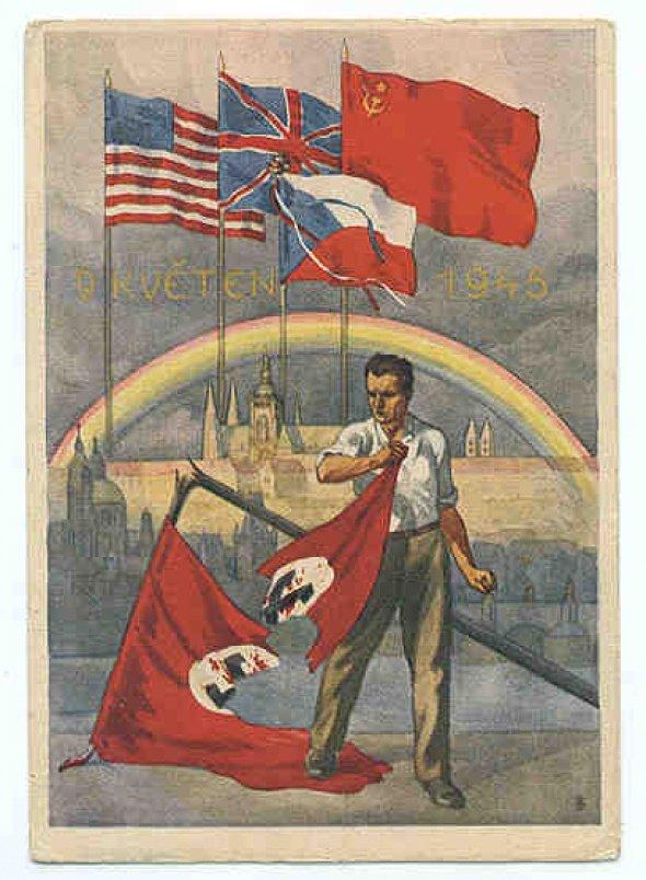 Dobový plagát oslavujúci kľúčových Spojencov a ukončenie Druhej svetovej vojny