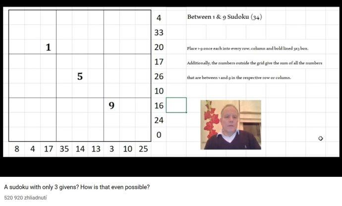 Mark Goodlife vysvetľuje, ako sa lúšti sudoku s tromi zadanými číslami. Reprofoto - YouTube